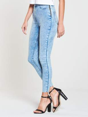 Very Charley High Rise Side Zip Jegging - Mottle Wash
