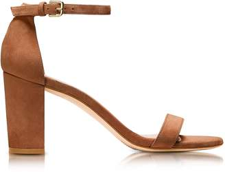 Stuart Weitzman Nearlynude Saddle Brown Suede Heel Sandals 35 CNd Isr Wd