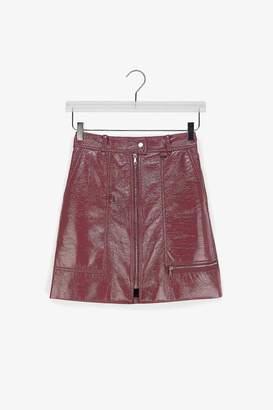 Genuine People Front Zipper Nylon Mini Skirt
