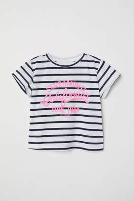 H&M Jersey Top with Printed Design - White