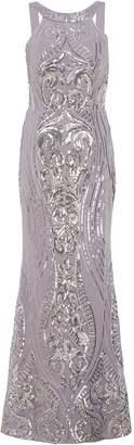 Quiz Grey And Silver Fishtail Maxi Dress
