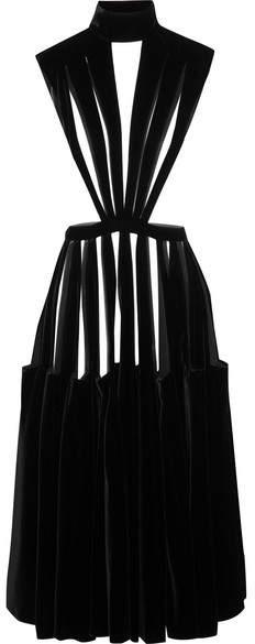 Valentino - Cutout Velvet Midi Dress - Black