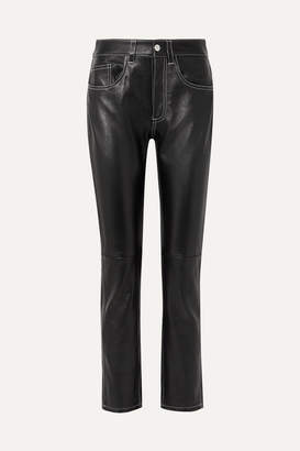 MM6 MAISON MARGIELA Leather Straight-leg Pants - Black