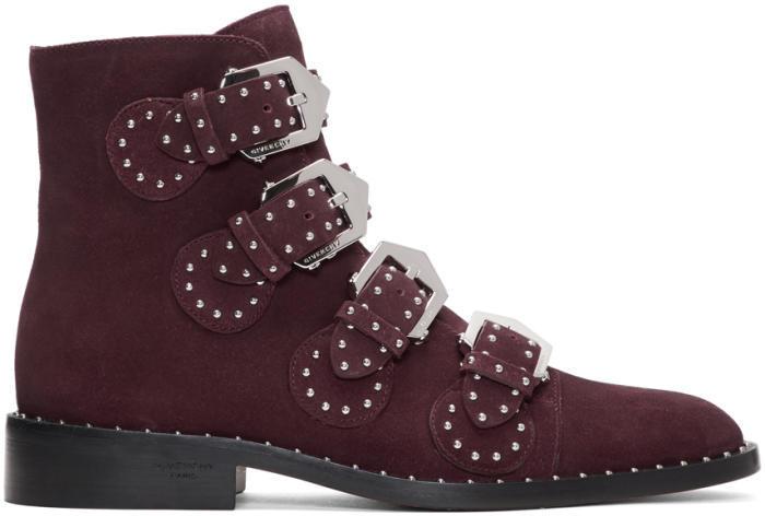 Givenchy Burgundy Suede Elegant Boots