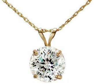 Diamonique 100 Facet 2 ct tw Pendant w/Chain, 1 4K Gold