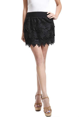 Blu Pepper Black Woven Lace Skirt
