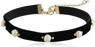 Velvetine White Freshwater Cultured Pearl on Ribbon Choker Necklace