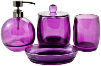 Nature Home Decor Ruby Collection Angus Glass 4-Piece Bath Spa Set