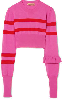 Maggie Marilyn - The Believer Cropped Striped Merino Wool Sweater - Pink