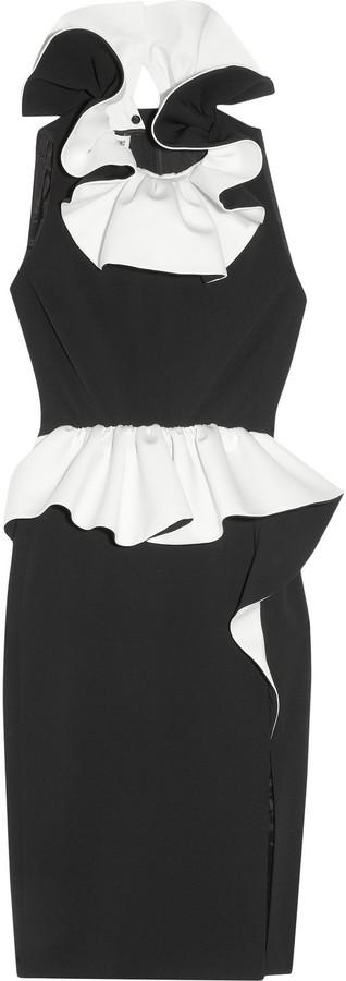 Moschino Ruffled two-tone crepe dress