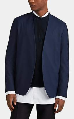 Maison Margiela Men's Piqué Wool Collarless Sportcoat - Navy