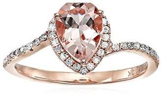 10k Rose Gold Morganite and Diamond Princess Diana Pear Shape Engagement Ring (1/10cttw