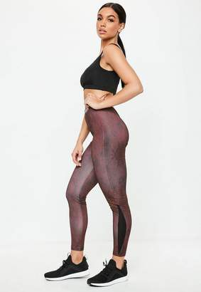 Missguided Burgundy Snakeskin Print Leggings