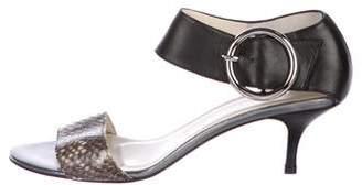 Bettye Muller Embossed Buckle Sandals