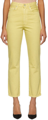 A Gold E AGOLDE Yellow Pinch Waist Hi Rise Kick Jeans