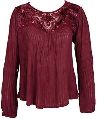 Lucky Brand Women's Velvet Applique Yoke Top