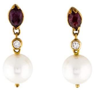 18K Pearl, Diamond, & Ruby Drop Earrings