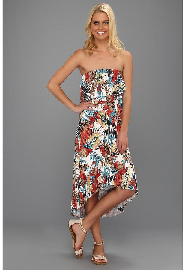 T-Bags Tbags Los Angeles - Two Layer Ruffle Tube High Low Dress with Ruffled Hem (VA9 Print) - Apparel