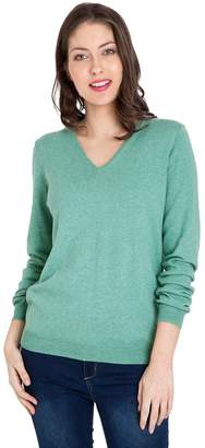 Wool Overs WoolOvers Womens Cashmere and Cotton V Neck Knitted Sweater , S