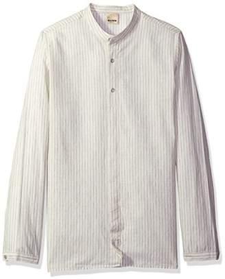 Baldwin Men's Mingo-Mandarin Collar Shirt with Partial Covered Placket