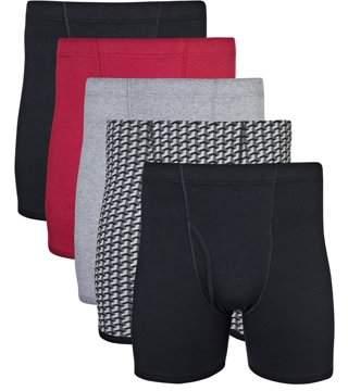 Gildan Men's Assorted Covered Waistband Boxer Brief Underwear, 5-Pack