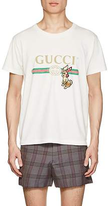 Gucci Men's Rabbit-Patch Logo-Print Cotton T-Shirt