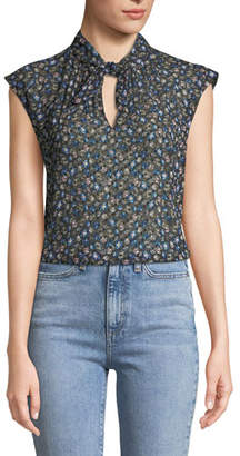 Rebecca Taylor Zelma Cap-Sleeve Floral Button-Front Top