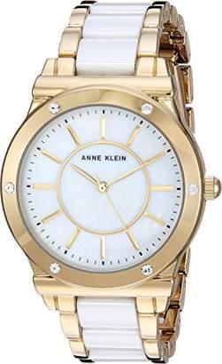 Anne Klein Women's AK/2820WTGB Swarovski Crystal Accented Gold-Tone and White Ceramic Bracelet Watch