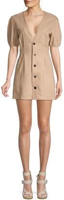 Avantlook Button-Front Linen Mini Dress