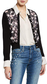 Floral Sheer-Front Shrug Cardigan
