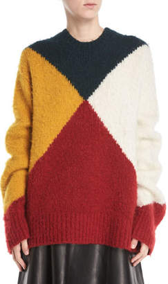 Derek Lam Crewneck Long-Sleeve Colorblock Brushed Alpaca Sweater