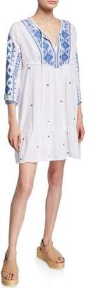 Johnny Was Azure Embroidered 3/4-Sleeve Effortless Boho Dress