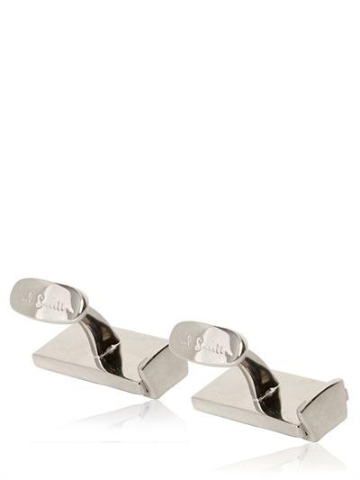 Paul Smith Enameled Brass Tape Cufflinks