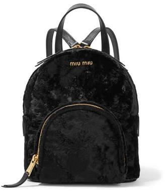 Miu Miu Leather-trimmed Velvet Backpack - Black