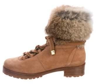 Alexandre Birman Fur-Trimmed Suede Boots