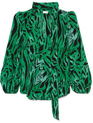 RIXO London - Moss Pussy-bow Printed Silk-georgette Blouse - Green