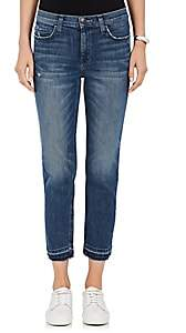 Current/Elliott Women's The High Waist Cropped Straight Jeans - Blue