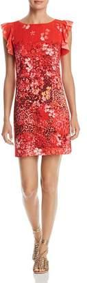 T Tahari Tindra Printed Ruffle-Trim Dress