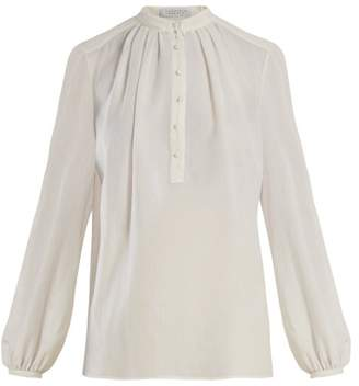 Gabriela Hearst Birkin Gathered Voile Blouse - Womens - White