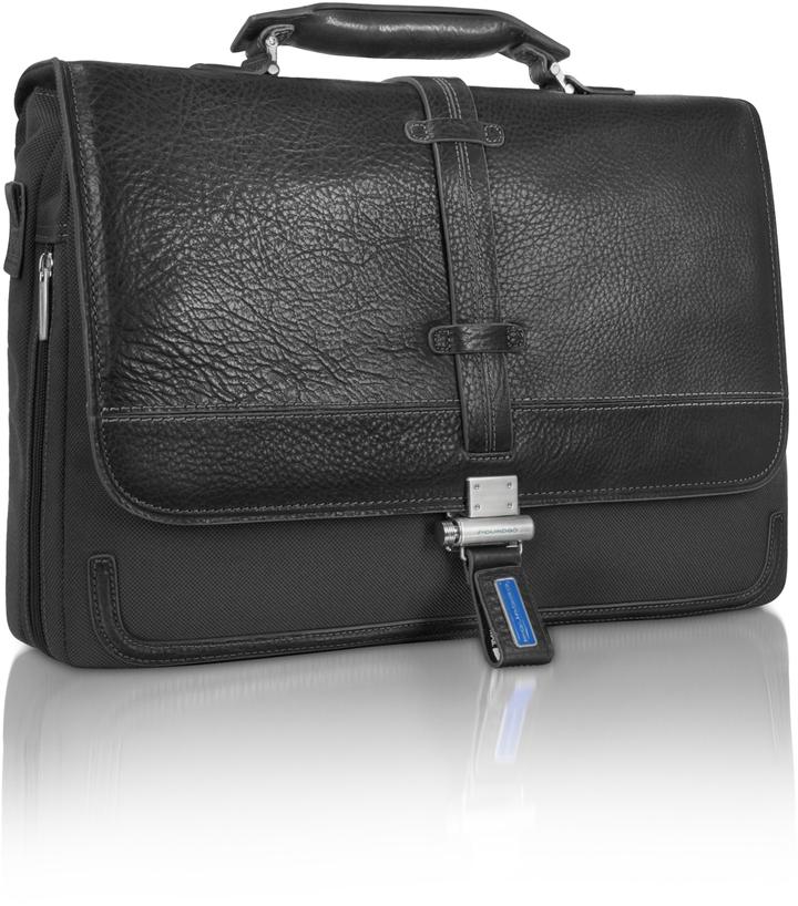 Piquadro Land - Leather & Nylon Briefcase