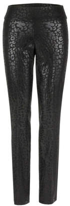 Up! Lola black leopard print metallic pants w side stripe