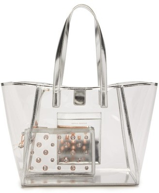 Sophia Webster Dina Leather Trimmed Pvc Tote Bag - Womens - Silver