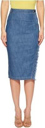 Moschino Skirt with Side Slit and Denim Fringe Women's Skirt