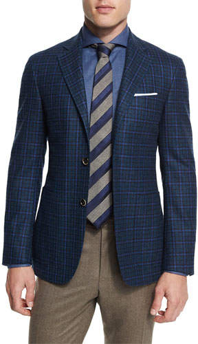 Canali Canali Plaid Two-Button Sport Coat, Blue/Green