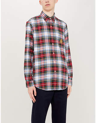 Polo Ralph Lauren Crest-embroidered checked cotton-flannel shirt