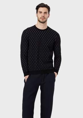 Giorgio Armani Jacquard Sweater With Diamonds In Chenille