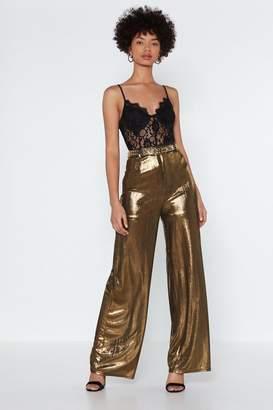 Nasty Gal Liquid Gold Metallic Pants