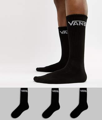 Vans Classic 3 Pack Socks In Black VXSEBLK