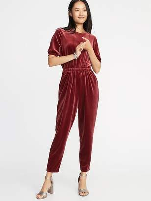 Old Navy Waist-Defined Smocked-Sleeve Velvet Jumpsuit for Women