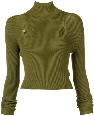 Versus cut out ribbed turtleneck sweater